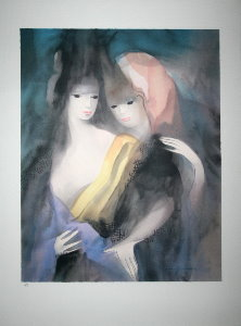 Lithograph after a watercolor of Marie Laurencin - Complicity