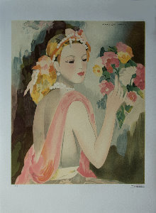 Lithograph after a watercolor of Marie Laurencin - The elegant