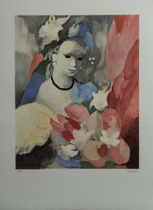 Lithograph after a watercolor of Marie Laurencin - The woman with a bouquet