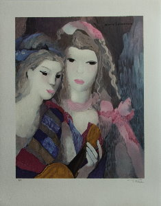 Lithograph after a watercolor of Marie Laurencin - Girls with the guitar
