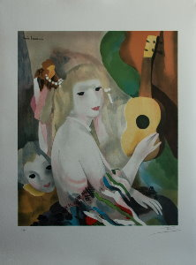 Lithograph after a watercolor of Marie Laurencin - The guitar