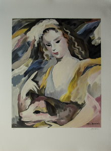 Lithograph after a watercolor of Marie Laurencin - The girl and her dog