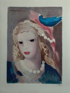Lithograph after a watercolor of Marie Laurencin - Young girl and bird