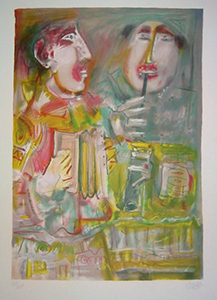 Mentor Lithograph - Two Musicians