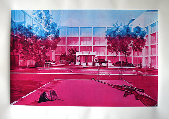 Jacques Monory Serigraph, Fuite n°3