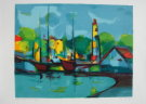 Marcel Mouly : Lithographie originale : Phare danois (années 1970)