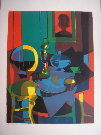 Marcel Mouly : Lithographie originale : Nature morte au portrait (1979)
