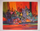 Marcel Mouly : Lithographie originale : Les guerriers rouges (1996)