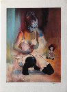 Bernard Peltriaux : Original Lithograph : Girl with the doll