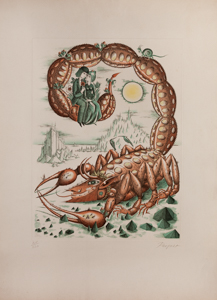 Raymond Peynet etching - Astrological signs : The Scorpio