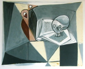 Pablo PICASSO : Lithograph : Skull and book
