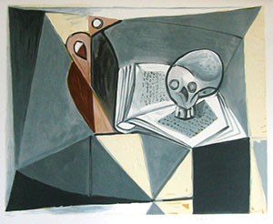 Pablo Picasso lithograph - Skull and book