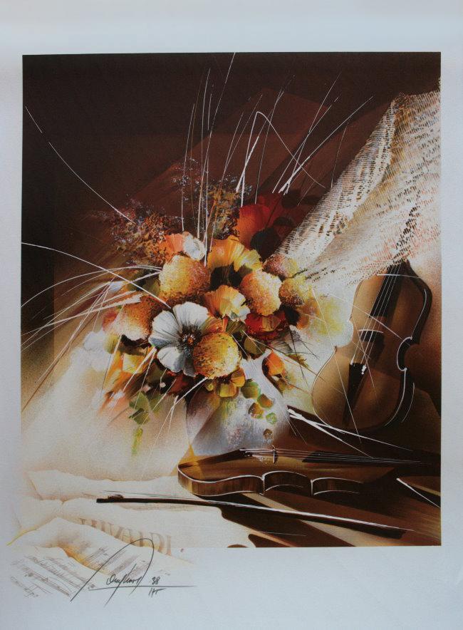 Raymond POULET : Original Lithograph : Autumn violins