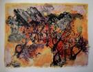 Maurice SARTHOU : Lithographie originale : Incendie dans les pins