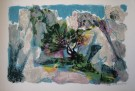 Maurice SARTHOU : Lithographie originale : Les roches blanches