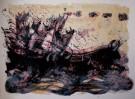 Maurice SARTHOU : Lithographie originale : Taureaux échappés