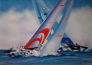Lithographie Victor Spahn - America's Cup - Alinghi