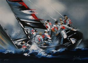 Lithographie Victor Spahn - America's Cup - Alinghi 2