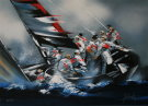 Victor Spahn : Lithographie originale : America's Cup - Alinghi 2