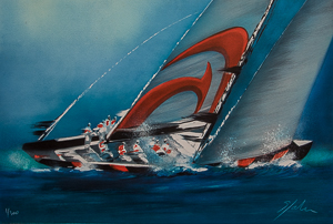 Lithographie Victor Spahn - America's Cup - Alinghi 3