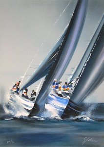 Lithographie Victor Spahn - America's Cup - Valence