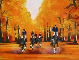 Victor Spahn Lithograph - Riders in fall