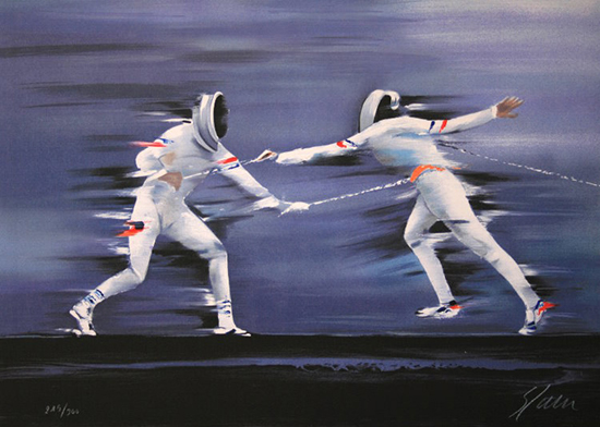 Victor Spahn : Original Lithograph : Fencing