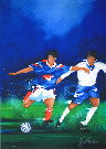 Victor Spahn : Lithographie originale : Football