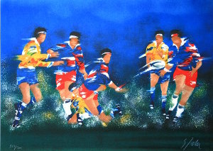 Lithographie Victor Spahn - Rugby