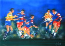 Victor Spahn : Lithographie originale : Rugby