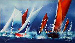 Victor Spahn Lithograph - Red spinnaker