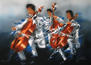 Victor Spahn Lithograph - Cellists Trio