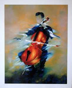 Victor Spahn Serigraph - The cellist