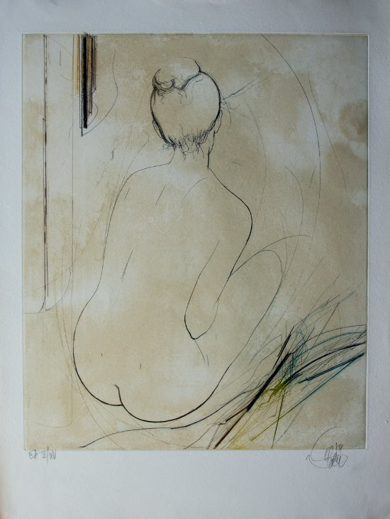 Jean-Baptiste Valadié : Original Etching : Back sitting