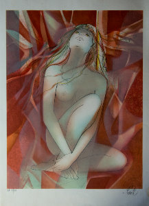 Jean-Baptiste Valadié Lithograph - The red jewel