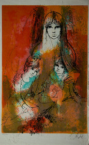 Jean-Baptiste Valadié Lithograph - Mother and children