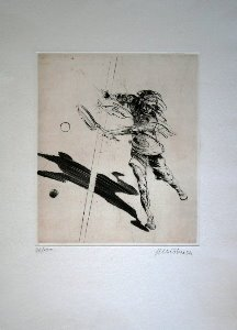 Claude Weisbuch etching - Tennisman