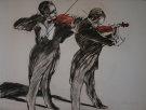 Claude Weisbuch : Lithographie originale : Deux violonistes