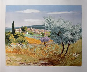 Victor Zarou Original Lithograph - Spring at Lorgues