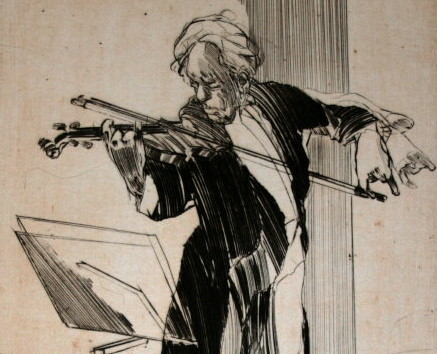 Claude WEISBUCH : Gravure originale : Violon solo