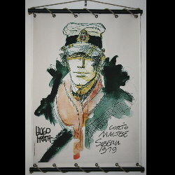 Hugo Pratt, Corto Maltese : Serigraph on linen canvas, Corto 1919