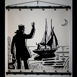 Hugo Pratt, Corto Maltese : Serigraph on linen canvas, Bon vent