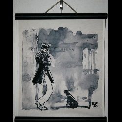 Hugo Pratt, Corto Maltese : Serigraph on linen canvas, Le chat