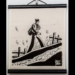 Hugo Pratt, Corto Maltese : Serigraph on linen canvas, China