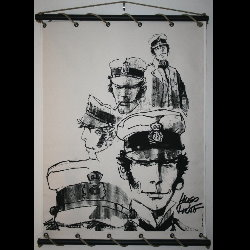 Hugo Pratt, Corto Maltese : Serigraph on linen canvas, Croquis
