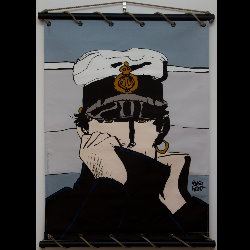 Hugo Pratt, Corto Maltese : Serigraph on linen canvas, Corto pour Dior (grey)