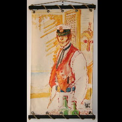 Hugo Pratt, Corto Maltese : Serigraph on linen canvas, Escondida