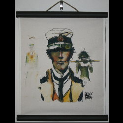 Hugo Pratt, Corto Maltese : Serigraph on linen canvas, Ethiopie