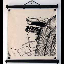 Hugo Pratt, Corto Maltese : Serigraph on linen canvas, Lecture