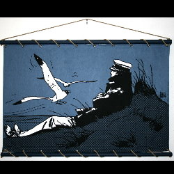 Hugo Pratt, Corto Maltese : Serigraph on linen canvas, Corto Marin (blue)